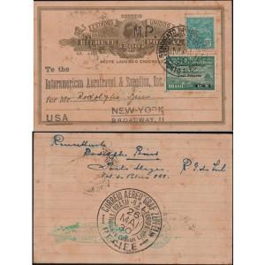 Bilhete Postal Enviado de Porto Alegre para Nova Iorque