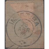 RHM 56 - 200 Réis Dom Pedro II - Cabeça Grande - Bissetado Sobre Fragmento